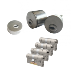 Ombouwset met RVS kerntrekrozet + M&C Condor cilinder (4x) - SKG***