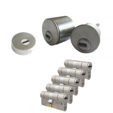 Ombouwset met RVS kerntrekrozet + M&C Condor cilinder (5x) - SKG***