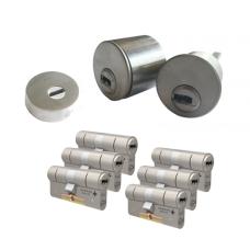 Ombouwset met RVS kerntrekrozet + M&C Condor cilinder (6x) - SKG***