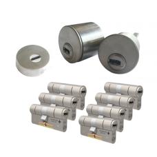 Ombouwset met RVS kerntrekrozet + M&C Condor cilinder (7x) - SKG***