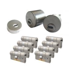 Ombouwset met RVS kerntrekrozet + M&C Condor cilinder (8x) - SKG***