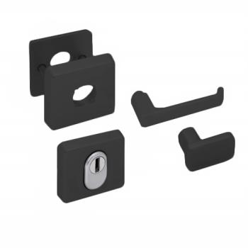 Nemef Hollands Design - rozetbeslag zwart inclusief krukken (rechthoekig) - SKG***
