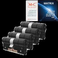 M&C Matrix cilinder zwart met kerntrekbeveiliging (4x) - SKG***
