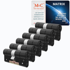 M&C Matrix cilinder zwart met kerntrekbeveiliging (6x) - SKG***