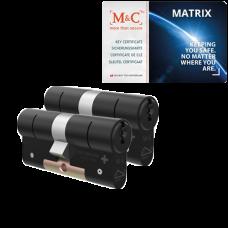 M&C Matrix cilinder zwart met kerntrekbeveiliging (2x) - SKG***